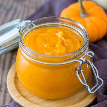 Homemade Pumpkin Puree in a glass jar