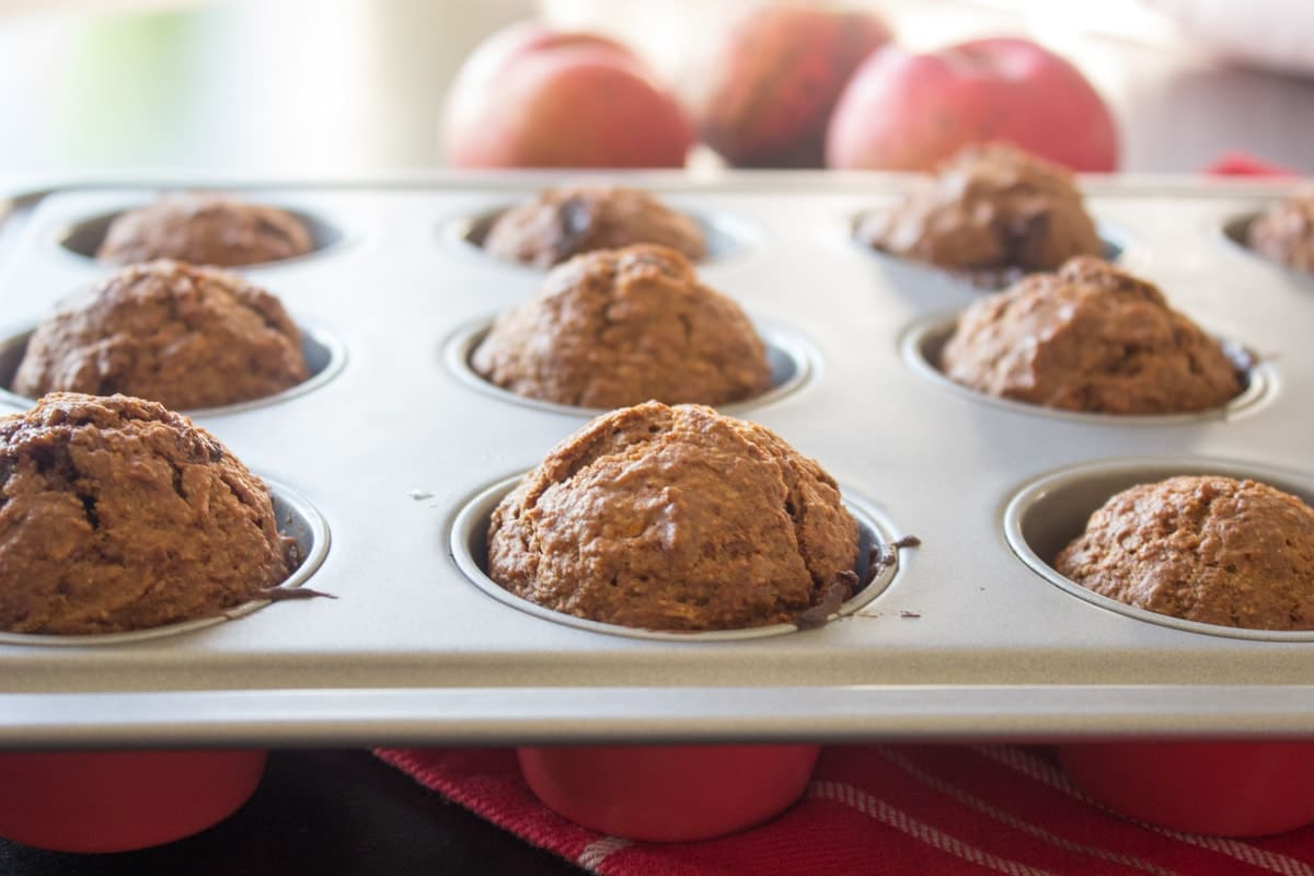 Apple Carrot Muffins - sweet and healthy muffins with whole wheat and coconut oil @ www.natalieshealth.com