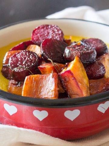 Creamy pumpkin polenta enriched with aromatic healing spice turmeric served with seasonal vegetables - beets and sweet potatoes roasted in the oven with sweet and sour balsamic dressing. CLICK to grab a recipe or PIN for later!