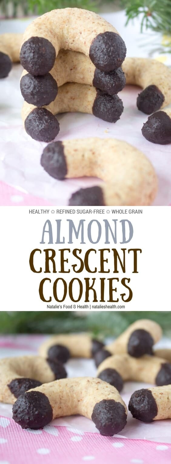 Sweet, nutty and just delicious, Vanilla Almond Crescent cookies are the must-have for your Holiday table. These are completely guilt-free, and weight loss friendly made with the HEALTHY ingredients. Wholegrain and refined sugar-free. #cookie #Holiday #christmas #healthy #sugarfree #kidfriendly #easy #cookies | www.natalieshealth.com