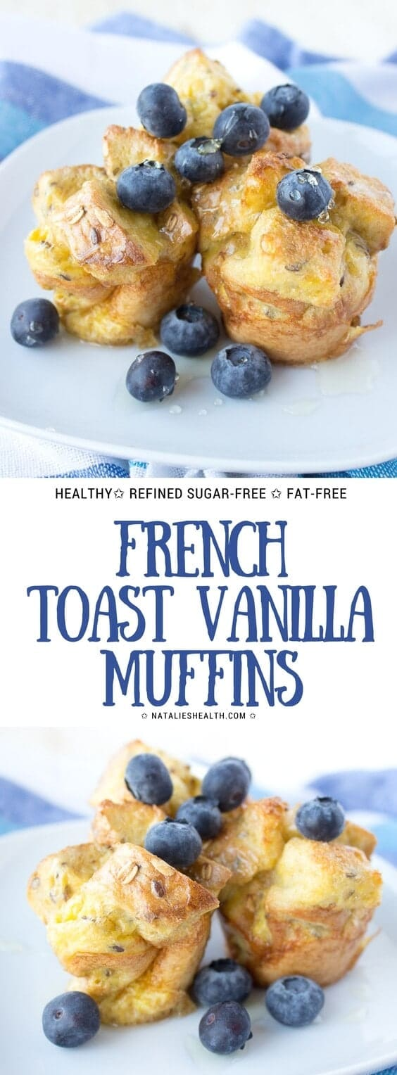 Oven baked French Toast Vanilla Muffins are perfect EASY breakfast your whole family will love. Soft, delicious and healthier than classic French Toast. Whole Grain, fat-free, refined sugar-free and just yummy. #healthy #healthyrecipe #healthylife #weightlossrecipe #familymeal #kidsfriendly #breakfast #sugarfree #wholegrain #muffins | NATALIESHEALTH.COM