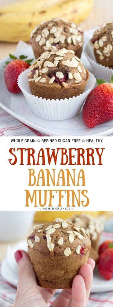 Healthy whole grain Strawberry Banana Muffins with fresh strawberries