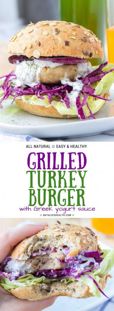 Easy Turkey Burger With Greek Yogurt Sauce in a whole grain bun with veggies