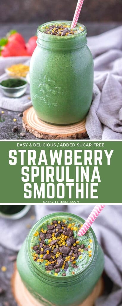 Strawberry Banana Smoothie with spirulina and spinach