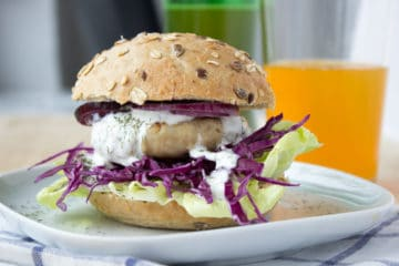 Turkey burger with greek yogurt topping