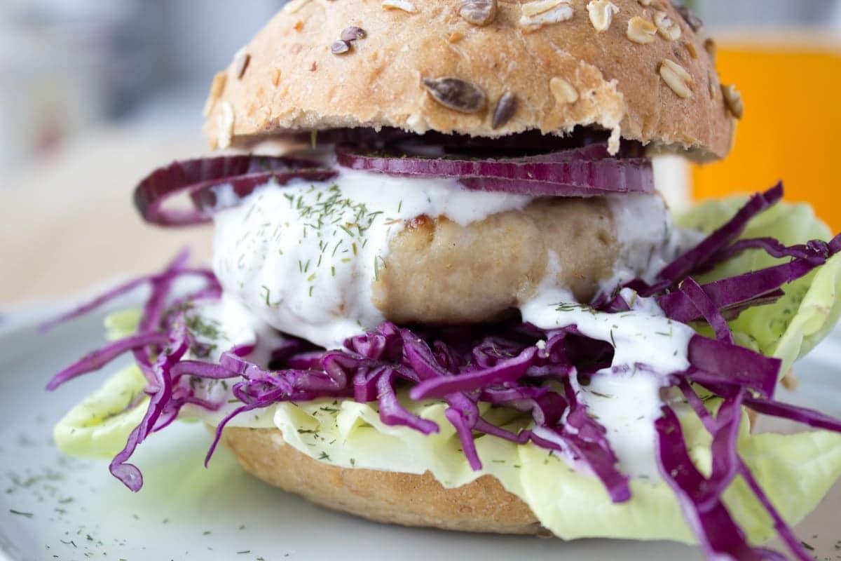 Turkey burger with greek yogurt topping