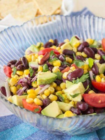 Black Bean Corn Avocado Salad with lime dressing