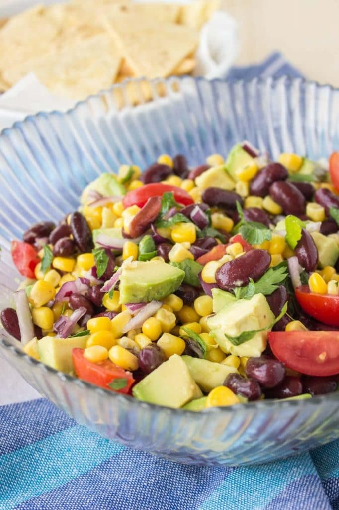 Black Bean Corn Avocado Salad with lime dressing