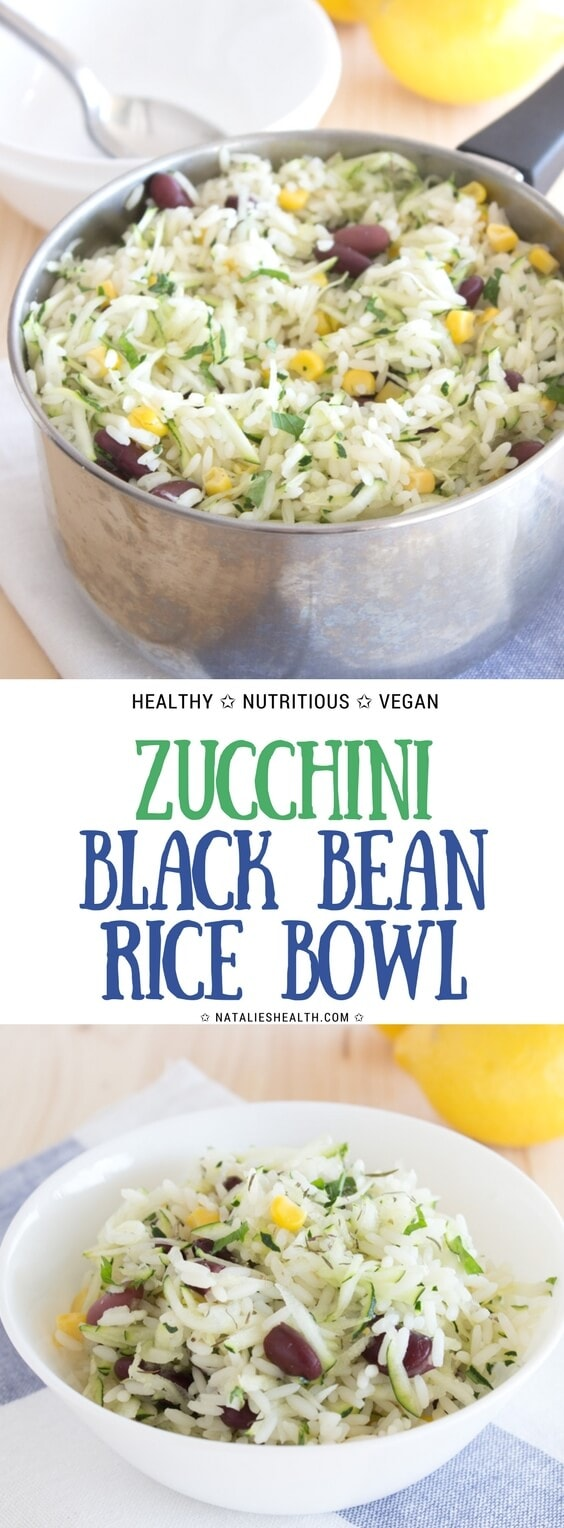 Easy and simple Zucchini Black Bean Rice Bowl seasoned with fresh thyme and enriched with coconut oil is a very nutritious and healthy meal. Perfect side dish. #vegan #easy #kidfrinedly #familymeal #sidedish #rice #ricebowl #healthydinner #healthy #healthylife #healthyrecipes #healthyeating | NATALIESHEALTH.com