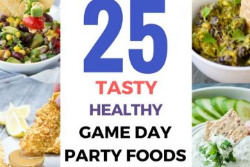 What are you serving for game day? Here are some great ideas: A roundup of 25 Healthy Game Day Party Foods including snacks, appetizers, sandwiches, pizza bites, and of course dips! A must-make recipes for Super Bowl and football season. #partyfood #appetizers #gameday #snack #healthy #easyrecipes #football #superbowl #partyrecipes | NATALIESHEALTH. com