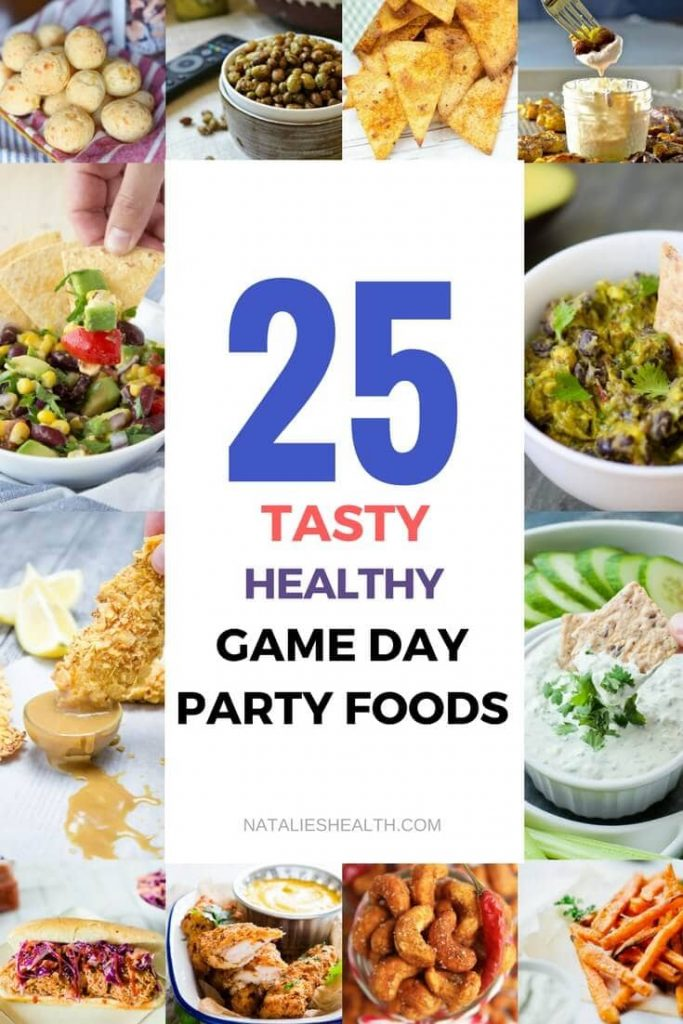 What are you serving for game day? Here are some great ideas: A roundup of 25Healthy Game Day Party Foods including snacks, appetizers, sandwiches, pizza bites, and of course dips! A must-make recipes for Super Bowl and football season. #partyfood #appetizers #gameday #snack #healthy #easyrecipes #football #superbowl #partyrecipes | NATALIESHEALTH. com