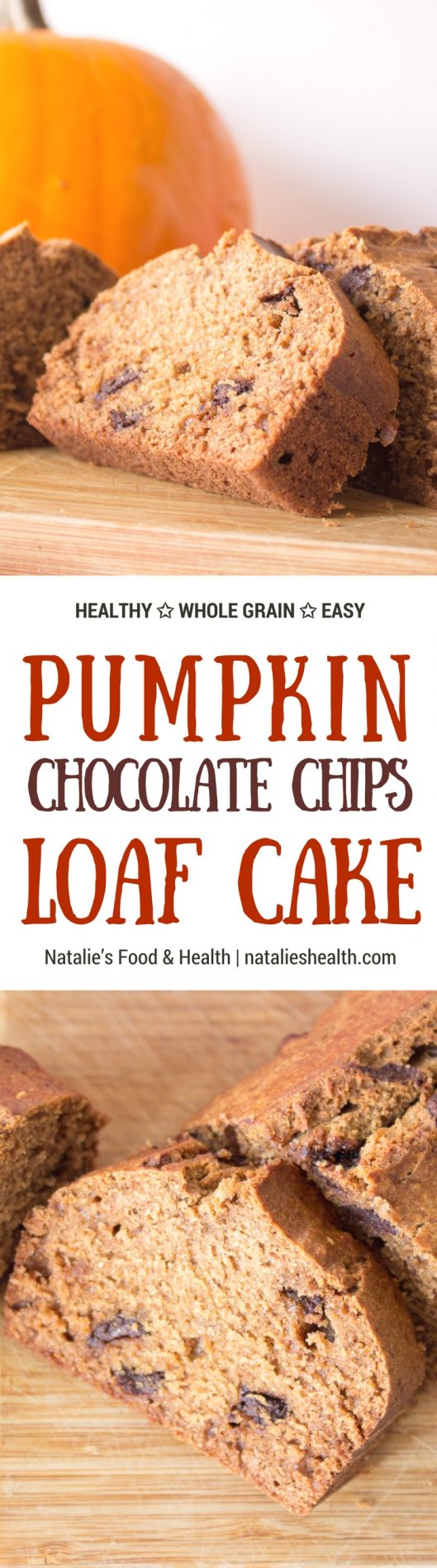 Delicious Pumpkin Loaf Cake made with all HEALTHY wholesome ingredients, packed with aromatic autumn spices - cinnamon, nutmeg, allspice and tons of sweet pumpkin flavor. #healthy #wholegrain #lowcalorie #skinny #pumpkin #holiday #thanksgiving #kidsfriendly #choocolate #fall #dessert | www.natalieshealth.com