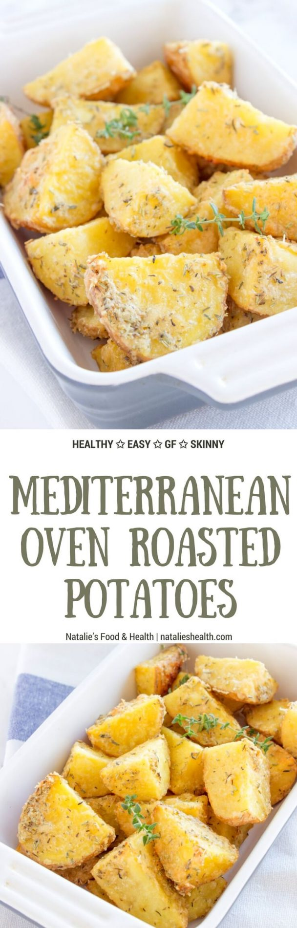 Easy, healthy and delicious, roasted garlic parmesan potatoes baked in the oven seasoned with aromatic spices. It's perfect low-calorie meal, full of nutrients. #sidedish #veggies #kidsfriendly #baked #fall #winter #thanksgiving #holiday #family #dinner #easy #parmesan #glutenfree | www.natalieshealth.com