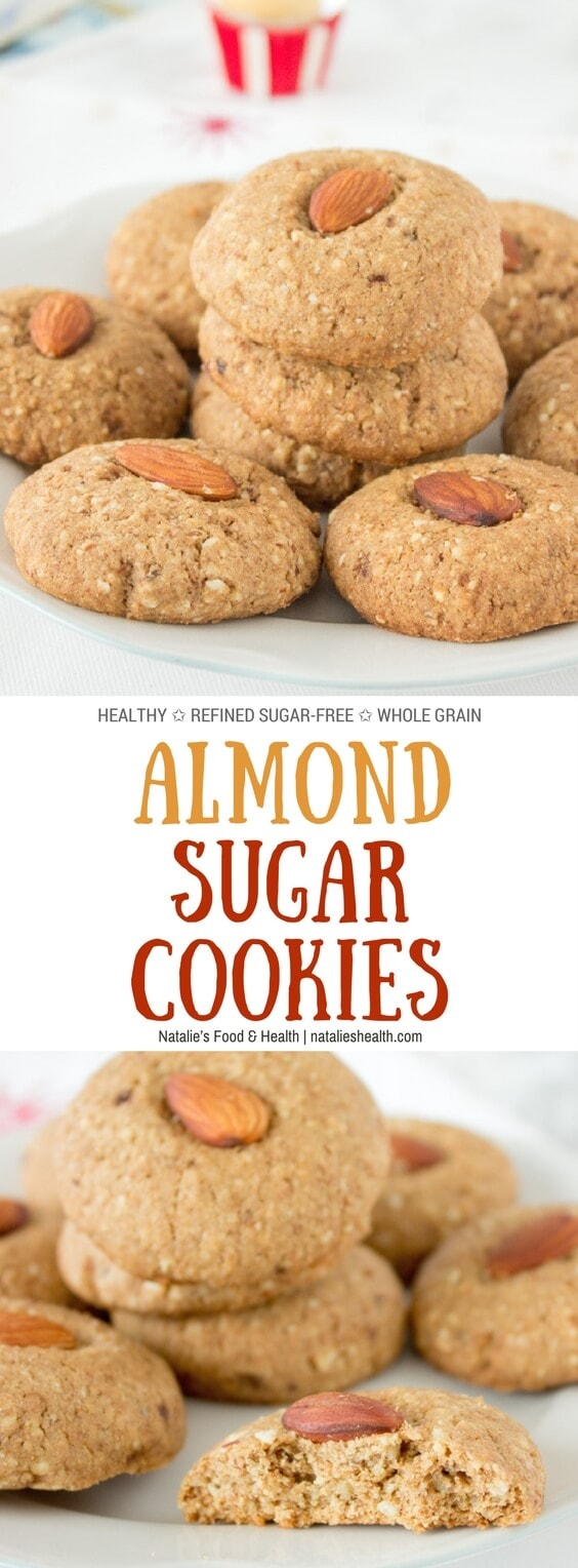 Crunchy, nutty with touch of caramel flavor, these HEALTHY refined sugar-free Almond Sugar Cookies are the perfect Holiday sweet treat. #Christmas #cookies #holiday #almond #sugarfree #healthy #wholegrain #kidsfriendly #familly #dessert | www.natalieshealth.com