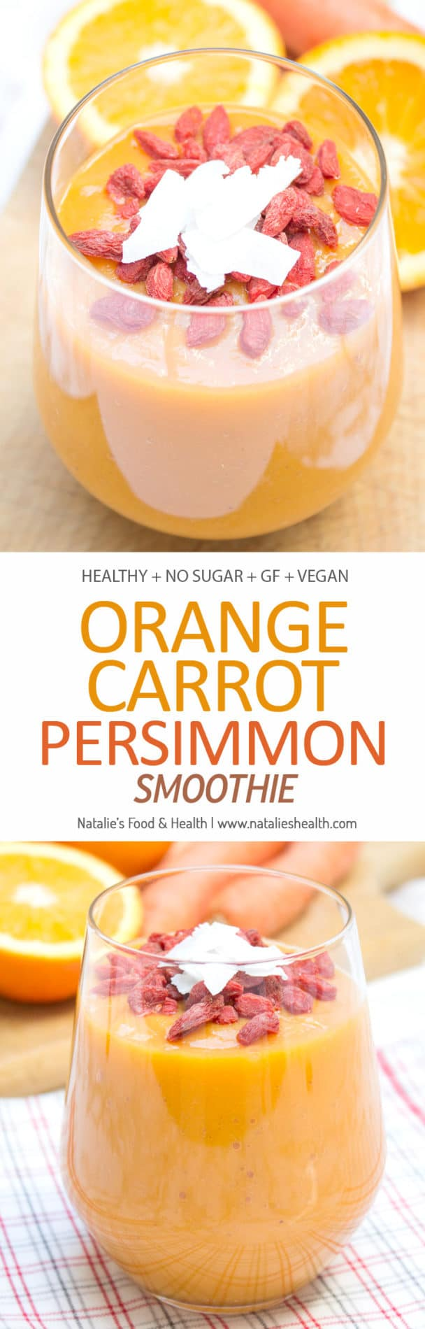Naturally sweet and just delightful, Orange Carrot Persimmon Smoothie enriched with super spice - TURMERIC is the perfect healthy and nutritious meal for the whole family. This immune boosting smoothie is packed with vitamins, antioxidants, and high-quality dietary fibers. It's also vegan, gluten-free and sugar-free. CLICK to read the recipe or PIN for later!
