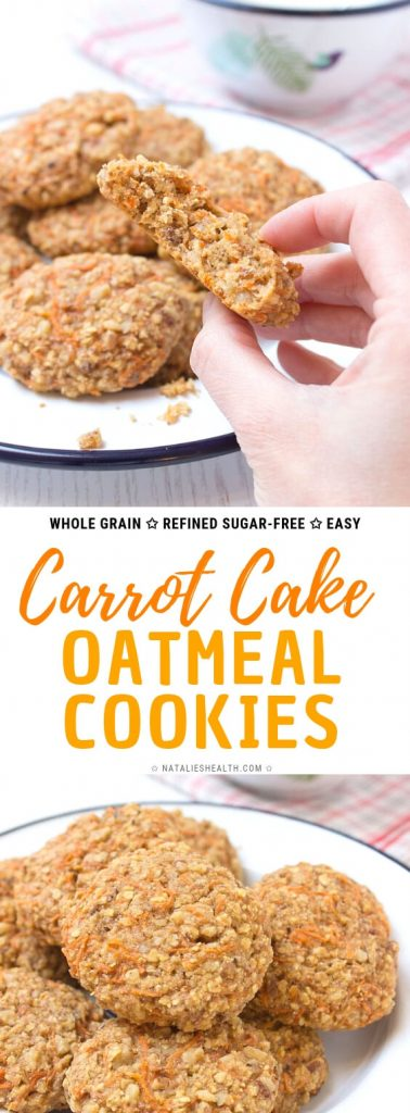 Healthy Carrot Cake Oatmeal Cookies