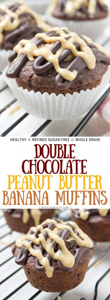 Double Chocolate Banana Muffins with peanut butter