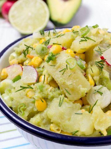 Avocado Potato Salad with Spring Onions and Radishes