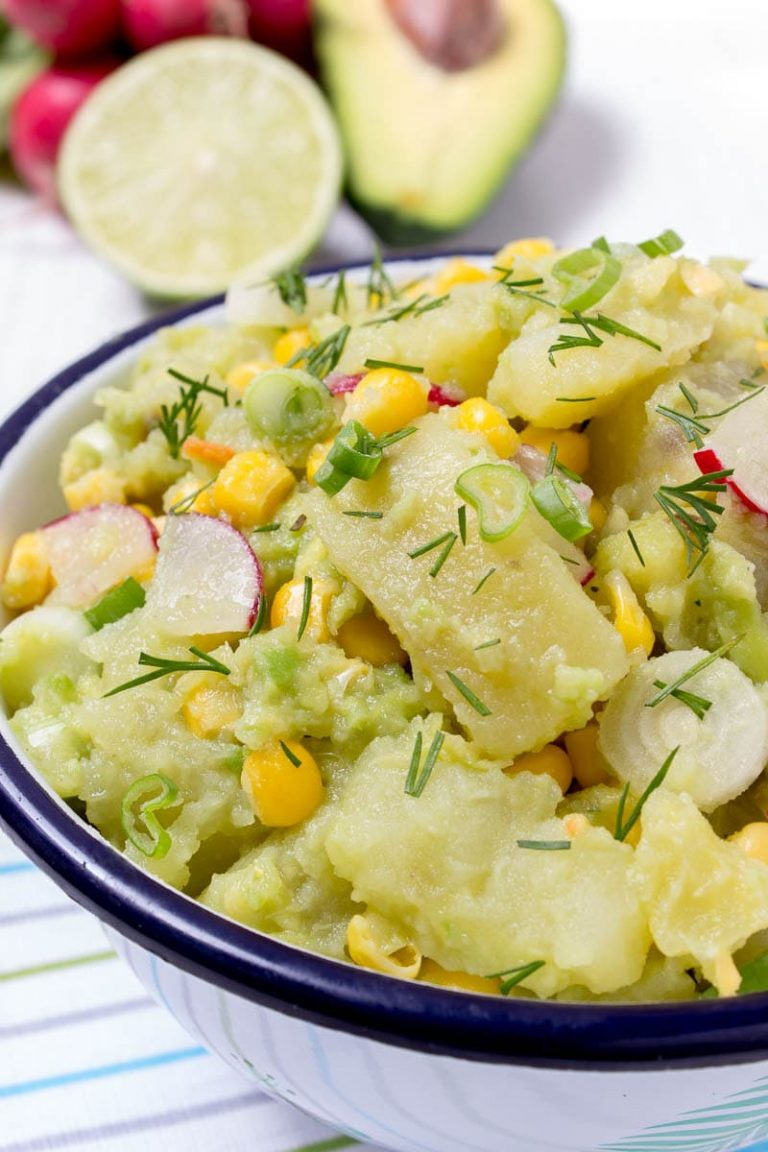 Avocado Potato Salad with Spring Onions and Radishes