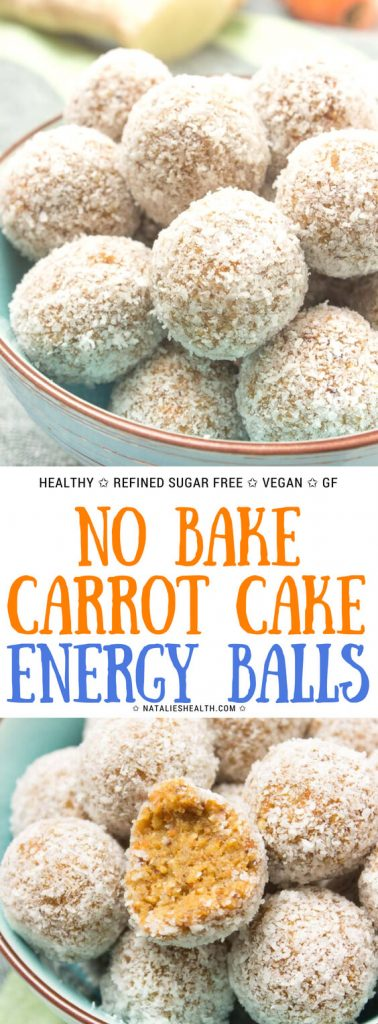 Vegan Gluten-free no-bake Carrot Cake Energy Balls with ginger and chia seeds