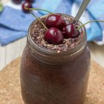 Vegan gluten-free Cherry Chocolate Smoothie with flex seeds and cocoa