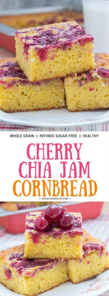 Healthy Refined sugar-free Sour Cherry Chia Jam Cornbread