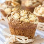 Fragrant, soft and lusciously sweet, Pumpkin Cheesecake Muffins made with all HEALTHY ingredients, refined sugar-free are the best thing this Fall. Flavored with real pumpkin and warm spices, filled with a cream cheese surprise it's a dessert that will make you wish pumpkin season last all year long. #pumpkin #fall #muffin #healthy #wholegrain #skinny #lowsugar #lowfat #easy #kidsfriendly #school #breakfast #dessert | natalieshealth.com