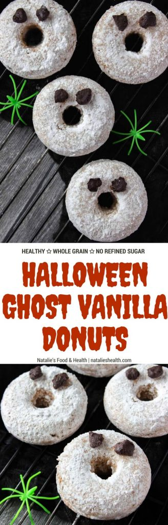 Sweet vanilla flavored Halloween Ghost Donuts are perfect Halloween party treat. These are made with all HEALTHY wholesome ingredients and refined sugar-free. Super low-calorie and super scary. BUU! #Halloween #party #kidsfriendly #donuts #healthy #lowfat #skinny #nosugar #breakfast #snack #kids #treat | www.natalieshealth.com