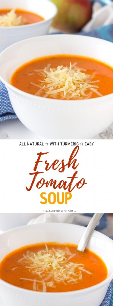 Fresh Tomato Soup with apples and turmeric
