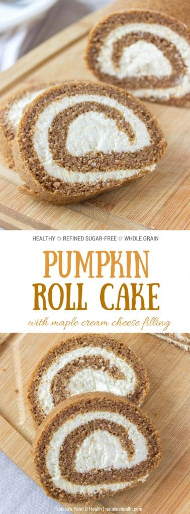 Pumpkin Roll Cake with a luscious maple cream cheese filling