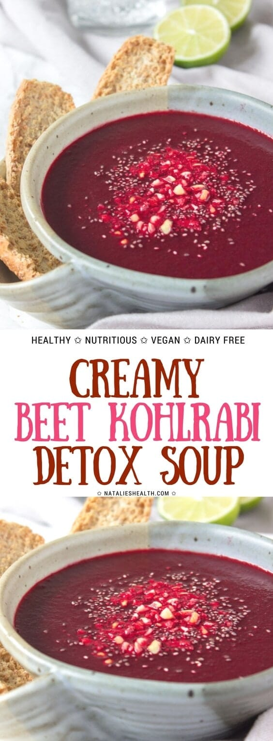 Beet Kohlrabi Soup is a unique and super delicious way to enjoy the nutritional benefits of beets. This vibrant, satisfying and just gorgeous detox soup is bursting with beautiful flavors, antioxidants, and some powerful nutrients, as well as with healing superspecies. #beet #soup #healthy #healthylife #healthyeating #healthyrecipe #healthylifestyle #vegan #glutenfree #healthy #kidsfriendly | NATALIESHEALTH.com