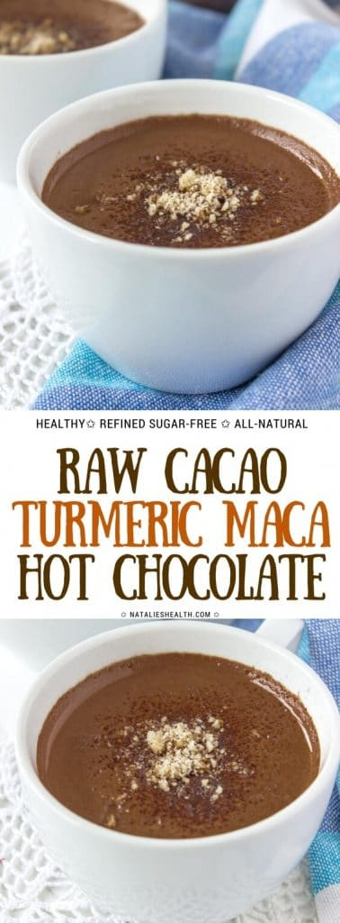 Easy homemade superfood Cacao Turmeric Maca Hot Chocolate is one delicious HEALTHY drink. It's packed with powerful antioxidants and immune-boosting ingredients, as well as luxurious dark chocolate flavor. It's sweet, creamy and so incredibly good. Wholesome. Refined sugar-free. Weight loss friendly. Perfect energizing drink to start your morning! #cacao #chocolate #healthy #healthyrecipe #healthylife #vegan #glutenfree #weightlossrecipes #maca #turmeric #cinnamon #drinks #winter #breakfast | NATALIESHEALTH.com