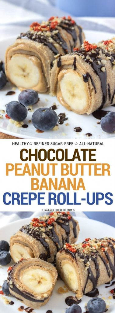 Crepes filled with smooth peanut butter spread and bananas, drizzled with raw chocolate. These Chocolate Peanut Butter Banana Roll-Ups are one amazing HEALTHY treat. Refined sugar-free, whole grain and packed with nutrients. Perfect breakfast, a quick snack or delicious dessert!