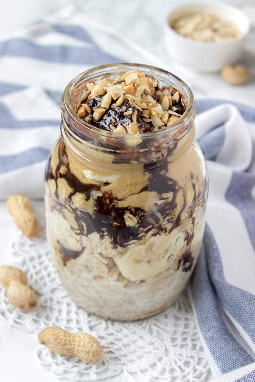 Vegan gluten-free refined sugar-free Peanut Butter Maca Overnight Oats with raw chocolate and banana