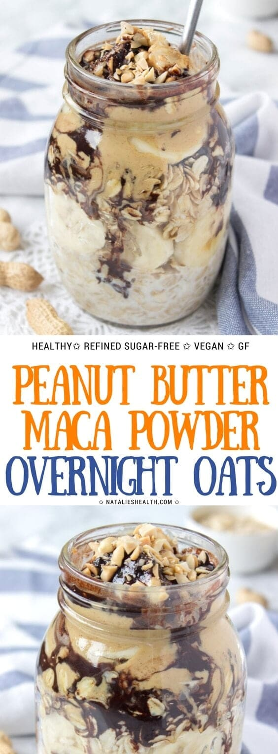 Peanut Butter Maca Overnight Oats are one super nutritious and satisfying meal that is perfect for busy mornings. These oats are loaded with nutrients, and with powerful antioxidants from maca powder. Creamy, energizing and just delicious. Also, vegan, refined sugar-free and dairy-free. Totally addictive. #healthyeating #healthyrecipe #healthylife #healthylifestyle #healthyeats #vegan #glutenfree #sugarfree #weightlossrecipe   NATALIESHEALTH.com