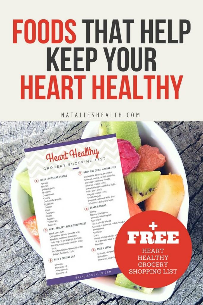 Healthy eating starts with having the right heart-healthy foods in your kitchen. They help lower cholesterol and keep your blood pressure in check. If you aren't sure which foods to buy, print this FREE Heart Healthy Grocery Shopping List PRINTABLE to take to the supermarket. #healthylife #healthylifestyle #hearthealth #eatinghealthy #healthyfood #wellness #weightloss #happylife #healthydiet | NATALIESHEALTH.com