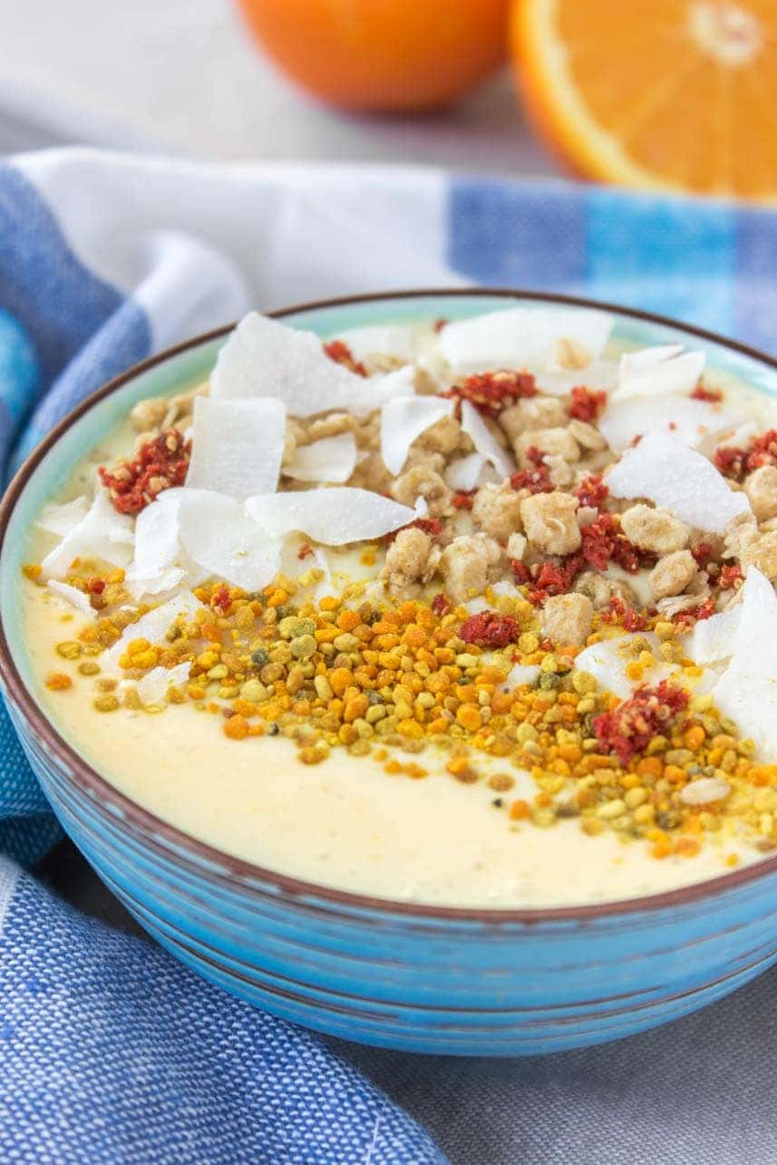 Healthy Vegan Gluten-free Refined sugar-free Orange Mango Turmeric Smoothie Bowl with TURMERIC