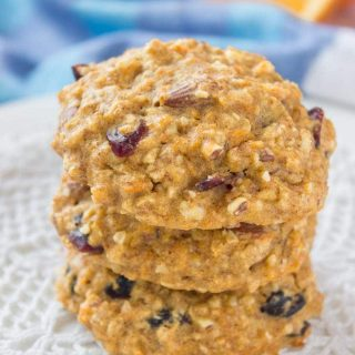 Healthy Orange Carrot Oatmeal Cookies with oats cranberries walnuts and ginger