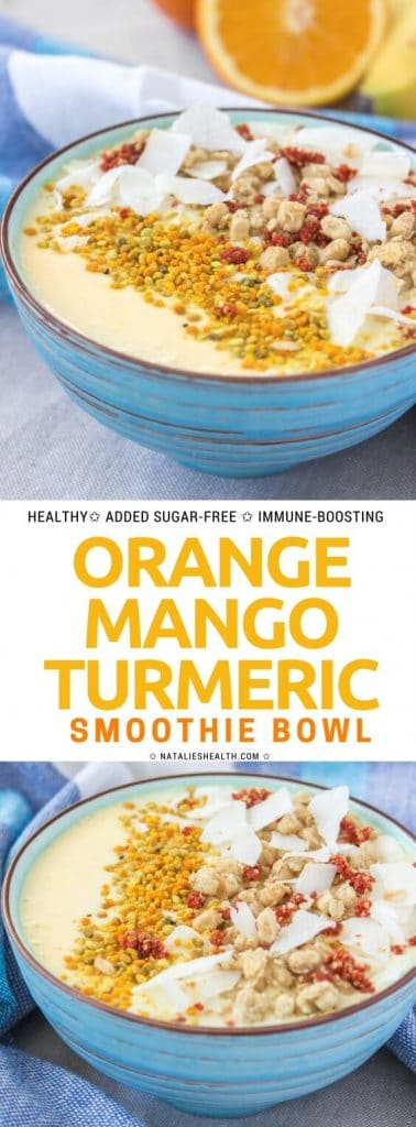 This Orange Mango Turmeric Smoothie Bowl makes the perfect quick breakfast! It's nutrient-packed, deliciously sweet and so HEALTHY - filled with mango, probiotic yogurt, orange, and TURMERIC. All natural, refined sugar-free, immune-boosting. #smoothie #smoothiebowl #breakfast #healthy #sugarfree #cleaneating #whole30 #kidsfreindly #healthyrecipe #weightlossrecipe | NATALIESHEALTH.com