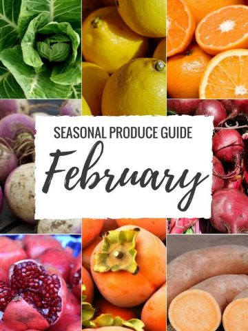 """Produce Guide """"Whats in Season FEBRUARY"""" is a collection ofbest HEALTHY recipes featuring seasonal fruits and veggies for the month February. #seasonal #winter #fruit #vegetables #guide #healthy #produce #food #february #recipes   NATALIESHEALTH.com"""
