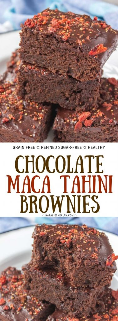Fudgy dark Chocolate Maca Tahini Brownies with melted chocolate glaze topped with chopped goji berries are beyond delicious. Made with WHOLESOME ingredients, refined sugar-free, whole grain and packed with powerful antioxidants these brownies are perfect guilt-free dessert to enjoy. #brownies #chocolate #tahini #maca #superfoods #healthyrecipe #healthy #weighlossrecipe #healthydesserts | NATALIESHELATH.com