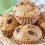 Whole grain healthy Irish Soda Bread Muffins with raisins and caraway seeds