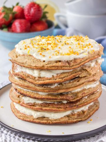 Whole grain healthy Lemon Cardamom Pancakes with cream cheese filling and strawberries