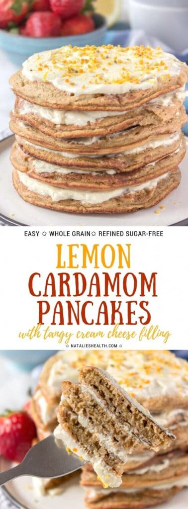 Whole grain healthy Lemon Cardamom Pancakes with cream cheese filling are perfect family breakfast. These pancakes are light and fluffy, packed with delightfully zesty lemon flavor and many nutrients. Quick, easy and amazing! All natural and refined sugar-free.