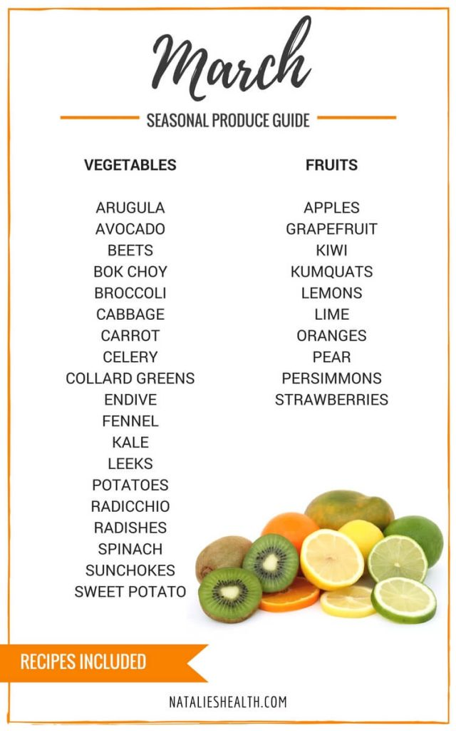 "Produce Guide ""What's in Season MARCH"" is a collection of best HEALTHY recipes featuring seasonal fruits and veggies for the month March. #seasonal #spring #fruit #vegetables #guide #healthy #produce #food #march #springrecipes #recipes 