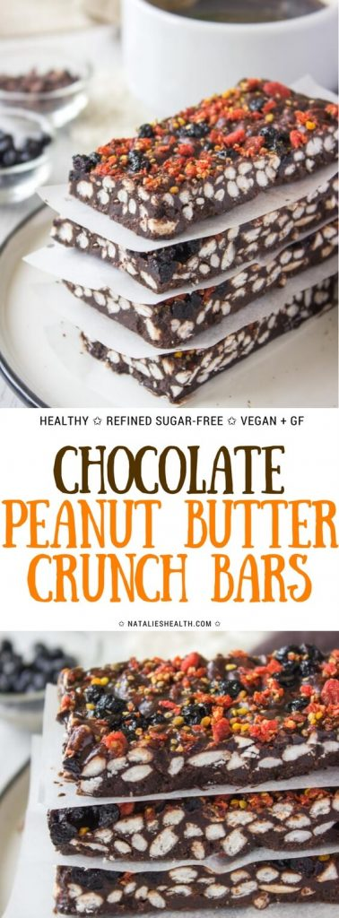 Raw Chocolate Peanut Butter Crunch Bars with puffed rice cereal
