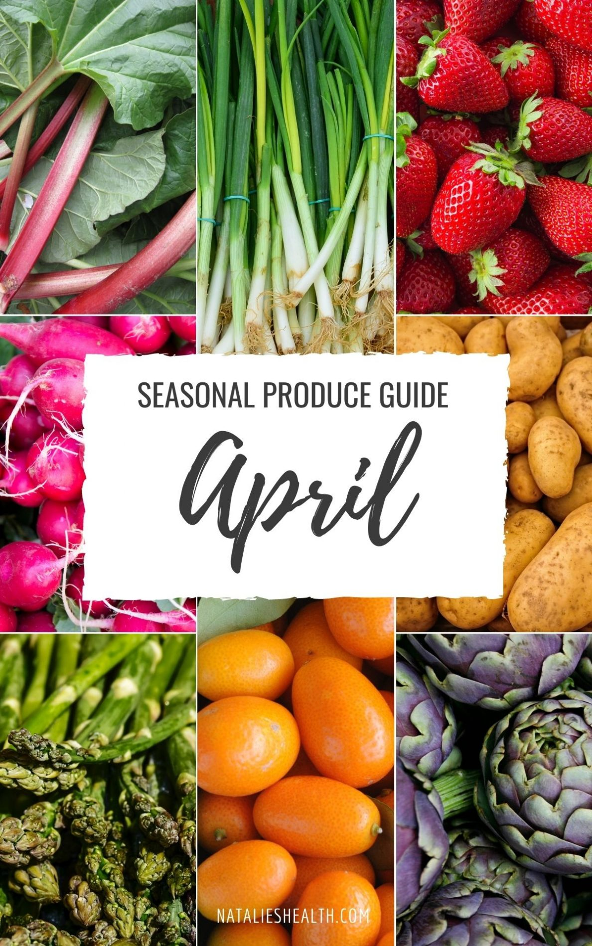 April seasonal produce guide cover photo with fresh produce