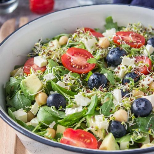 Arugula Spinach Blueberry Feta Salad with Avocado and Chickpeas