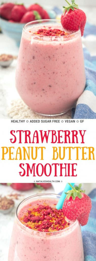 Strawberry Peanut Butter Smoothie with banana and flaxseeds topped with superfoods