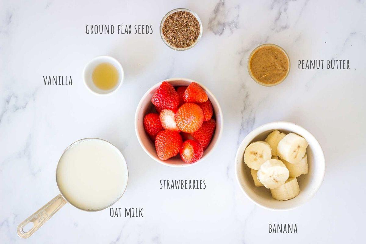 Strawberry Peanut Butter Smoothie ingredients
